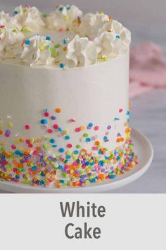 This moist, fluffy white cake recipe with creamy Swiss meringue buttercream is so easy to make you'll be whipping it up nonstop! Cupcakes, Cupcake Cakes, Best White Cake Recipe, Homemade White Cakes, Confetti Cake, Easy Cake Decorating, Easy Cake Recipes, Fancy Cakes, Pretty Cakes