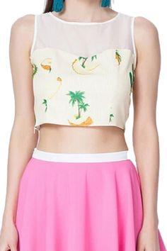 Mesh Pineapples Print Midriff Sleeveless Blouse - Fashion Clothing, Latest Street Fashion At Abaday.com