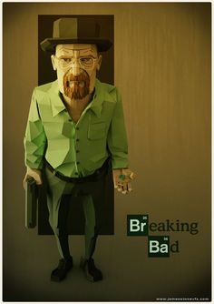 A fan poster I made for Breaking Bad done in a low poly style. Loking to get the model printed some time soon. Zbrush, Walter White, Character Design Cartoon, 3d Character, Blender 3d, Breaking Bad Arte, Fernanda Young, 3d Cinema, Fan Poster