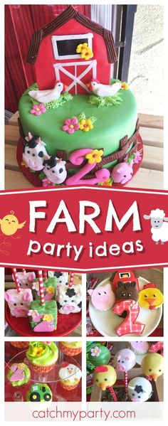 Check out this adorable farm themed birthday party. The farm animal cookies are so cute!!  See more party ideas and share yours at CatchMyParty.com  #farm #animals #barnyard