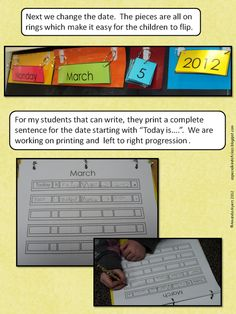 Here's a terrific post on how one teacher structures her calendar time. This is a class for kids with severe physical and/or speech disabilities, so you'll get lots of ideas for differentiating here. Special Education Classroom, Kindergarten Classroom, Math Classroom, Classroom Activities, Teaching Math, Classroom Organization, Kindergarten Calendar, Calendar Activities, Classroom Calendar