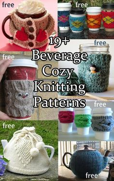 Beverage Cozy / Cosy Knitting Patterns for coffee, tea, and more