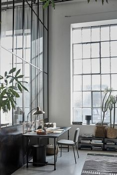 A Bright Industrial Loft Decorated With House Doctor's Spring/Summer Collection - The Nordroom House Doctor, Home Staging, Terrazzo, New Yorker Loft, Home Office Design, House Design, Scandinavian Loft, Architecture Design, Steel Frame Doors