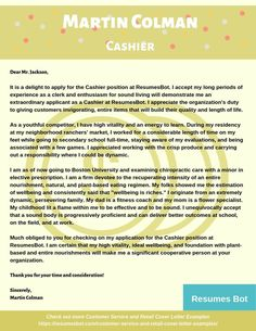 Want to create or improve your Cashier Cover Letter Example? ⚡ ATS-friendly Bot helps You ⏩ Use free Cashier Cover Letter Examples ✅ PDF ✅ MS Word ✅ Text Format Cover Letter Layout, Writing A Cover Letter, Cover Letter Example, Letter Sample, Resume Examples, Free Resume, Customer Service, Improve Yourself, Career