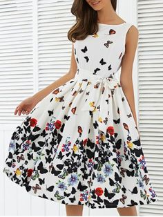 FANALA Vintage Print Dress Summer Sleeveless O-neck Belted Pleated Retro Audrey Hepburn Vestidos Robe Femme Party Swing Dresses Pretty Outfits, Pretty Dresses, Beautiful Dresses, Swing Dress, Dress Up, Prom Dress, Dress Wedding, Dress Long, Skater Dress