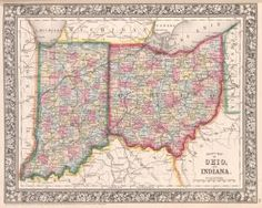 County map of #Ohio and #Indiana. (1863) #map