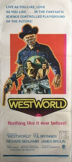 Westworld original vintage western sci-fi daybill film movie poster, available from our website.