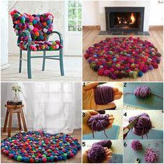 fabriquer un tapis pompons rond