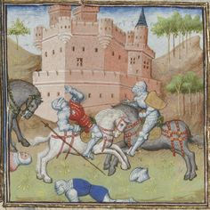 This artist consistently shows knights in plate armor riding with straight legs, stirrups pushed forward. Knees buckle only as knights are pushed backward out of the saddle - usually with a spear in the chest. From Guiron le Courtois, c. 1420 (Paris). BNF Français 356, fol. 134v. Bibliothèque nationale, Paris.