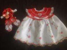 Handmade Crochet Newborn Baby Girl Dress Set - Shaded Red