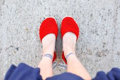 """DIY shoes! Learn how to make crochet espadrilles with flip flop soles in this free pattern and tutorial from Make and Do Crew! These crochet sandals feature Lion Brand 24/7 Cotton in """"Red."""""""