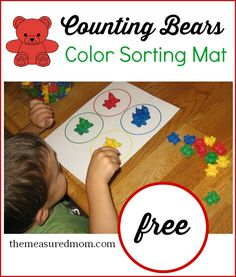 Check out this link for a free color sorting mat to help teach colors to toddlers.