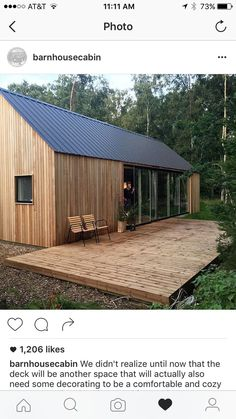 Small Wooden House Design: Pin By Ashley Borg On Cabin Shed Homes, Barn Homes, Casa Patio, Modern Barn, Wooden House, Bungalows, Cabana, Little Houses, House In The Woods