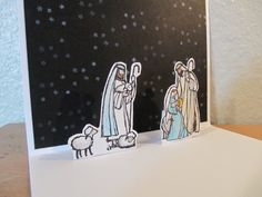 Stampin' Up! All Ye Faithful, aquapainter on shimmery white by Heather Westlake, pop-up inside