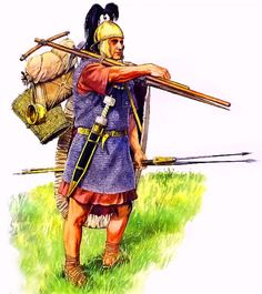 Legionary during the Alesia Campaign.The soldiers were nicknamed Marius' Mules (muli mariani in Latin).To keep the baggage trains from becoming too large, each man had to carry as much of his own equipment as he could, including his own armor, weapons and 15 days' rations or about 25 - 30 kilograms of load total.