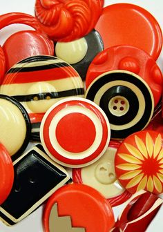 Vintage Art Deco Red, Black and Cream Celluloid Buttons