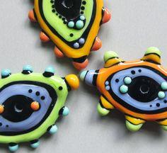 Mini Disc TrioHandmade Lampwork Glass Beads by beadygirlbeads, $35.00
