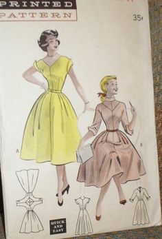 Vintage 1950s Butterick 6559 V Neck Full Swing Skirt Dress Pattern 32B Sz 14 | eBay