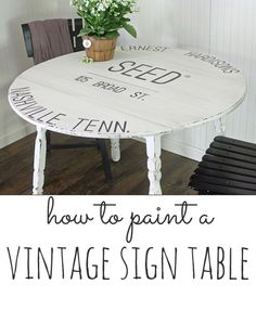 DIY Painted Sign Projects • Tutorials, including this DIY painted seed sack inspired table by Shabby Creek Cottage!