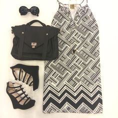 """Geometric for days!▪️⚫️ Loving this black & white look! """"On the Line Dress""""($42) in store at #tria! """"City Girl Black Satchel""""($42.99) at #sophieandtrey """"Little Bow Peep Wedges""""($34.99) at #statements Shop the whole look now on Sophieandtrey.com! #sophieandtrey #geometric #blackandwhite #ootd"""