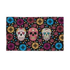 Sugar Skull Throw Rug Area Rugs Woven Rug by FolkandFunky on Etsy