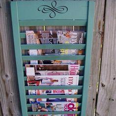 Shutter--->Magazine Rack!!!  Great tutorial@ http://www.myrepurposedlife.net/2011/10/repurposed-shutter-magazine-rack.html?m=1