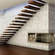 #Staircase Design! Love this one! #Simplicity /// Diseño de #Escaleras   Nos encanta la #Simplicidad de este diseño. Materiales y formas puras #d_signers