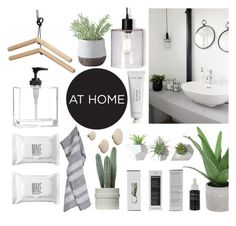 """""""Organic Bathroom"""" by sofiehoff ❤ liked on Polyvore featuring interior, interiors, interior design, home, home decor, interior decorating, Threshold, Byredo, Korres and Dot & Bo"""