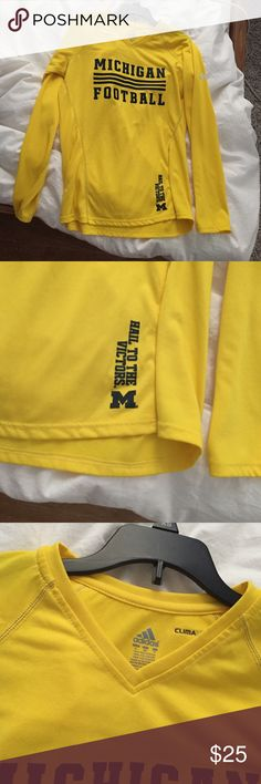Maize V-neck Long Sleeve Michigan Football S top Maize V-neck Long Sleeve Michigan Football clima cool S tee top. Excellent condition. Black lettering no cracking. Adidas Tops Tees - Long Sleeve