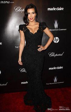 2016 High Quality Black Kim Kardashian Awards Cap Sleeves V Neck Lace Mermaid Celebrity Evening Prom Dresses Evening Formal Dresses Evening Long Dresses From Alberta_dress, $51.31| Dhgate.Com