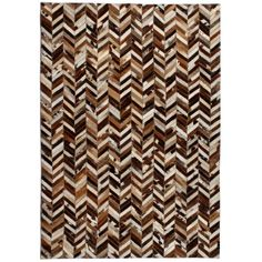 Union Rustic Rug Genuine Leather Patchwork Cm Chevron Brown/White Union Rustic Rug Size: Rectangle 80 x Black And White Carpet, White Rug, Patchwork Rugs, Patchwork Designs, Chevron, Carpet Mat, Rugs On Carpet, Neutral Color Scheme, Color Schemes