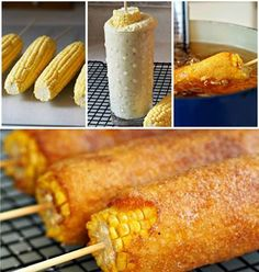 Fried Corn on a Stick! - Same principal as Corn Dogs... just corn :) #HappyFryDay  detailed recipe - http://myfridgefood.com/recipes/fried-food/fried-corn/  Batter - Cornmeal, Flour, Sugar, Baking Powder, Eggs, and Milk.  Skewer your Corn, roll in Cornstarch (to help the batter stick), dip in the Batter, and fry until Golden Brown... that's it