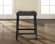 Crosley Furniture CF500224-BK Upholstered Saddle Seat Bar Stool in Black Finish with 24 Inch Seat Height - Set of 2