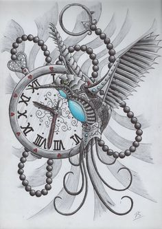 Steampunk Eye Clock Tattoo Design photo - 2