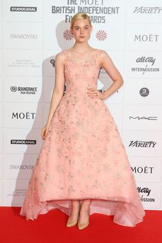 Fashion Phenom Elle Fanning Is Our Glamour Style Icon of the Week - Here she is at the British Independent Film Awards in 2012 in a pink rise-fall dress by Oscar de la Renta