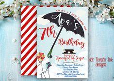 Mary Poppins  Invitation- Birthday Invitation- Mary Poppins Inspired Party-Umbrella- Printable-Digital 5x7