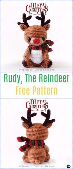 Crochet Amigurumi Rudy The Reindeer Free Pattern - Amigurumi Crochet Christmas Softies Toys Free Patterns
