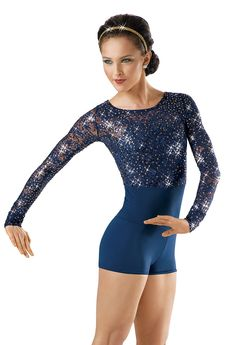 Long-Sleeve Sequin Lace Biketard; Weissman Costume