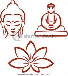 Illustration of Buddha and Lotus -Symbols of Buddhism . Vector illustration vector art, clipart and stock vectors. Buddha Kunst, Buddha Art, Buddha Tattoos, Arm Tattoos, Sleeve Tattoos, Cliparts Free, Buddhism Symbols, Buddha Drawing, Buddha Lotus