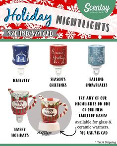 SCENTSY HOLIDAY NIGHTLIGHTS: Nativity | Seasons Greetings | Falling Snowflakes | Happy Holidays. Available 10/01/2016 - While Supplies last.