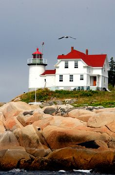 Photo/Art by Christine Morton  Heron Neck Light on Green's Island in Vinalhaven, Maine