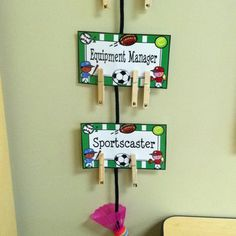 I have my classroom job cards hot-glued to a rope. I will rotate the clothes pins each week (or two weeks- haven't decided) to change jobs. If I would have thought about how I'd hang the clothes pins, I would've written the numbers so they were right side up. My OCD will have to get over it!