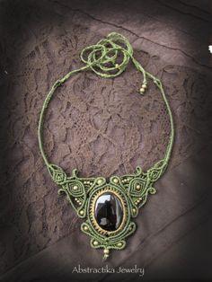 Gemstone statement necklace. Macrame necklace by AbstractikaCrafts, £41.00