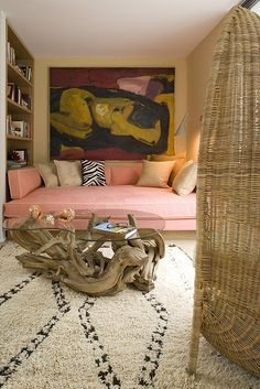 Guest room/den....the pink upholstered bed is to die for!