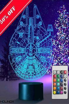 Holinox Star Wars Millennium Falcon Lamp Gadget Gift -- Visit the image link more details. (This is an affiliate link) 3d Light, Lamps For Sale, Star Wars Gifts, Gadget Gifts, Millennium Falcon, Lamp Design, Card Sizes, Lego Star Wars, Best Gifts