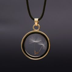 Glass Floating Locket Necklaces with Dandelion Seeds