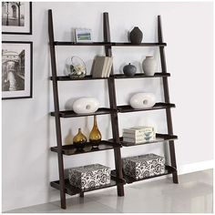 This unique leaning ladder shelf set will make a stylish addition to any room in your home. With five tiers, this shelf set provides storage or placement for decoration. $174.99 on overstock.com