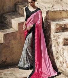 Buy pink and white printed jacquard saree with blouse jacquard-saree online