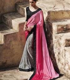 Buy pink and white printed jacquard saree with blouse jacquard-saree online