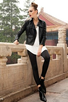 This jacket crafted in faux leather, featuring turndown collar, asymmetric zip fastening through front, rivets embellished to shoulder, zip long sleeve, quilted design to lower back, in medium length cut, all in regular fit.$115